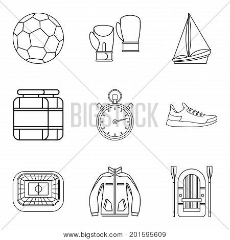Sport training icons set. Outline set of 9 sport training vector icons for web isolated on white background