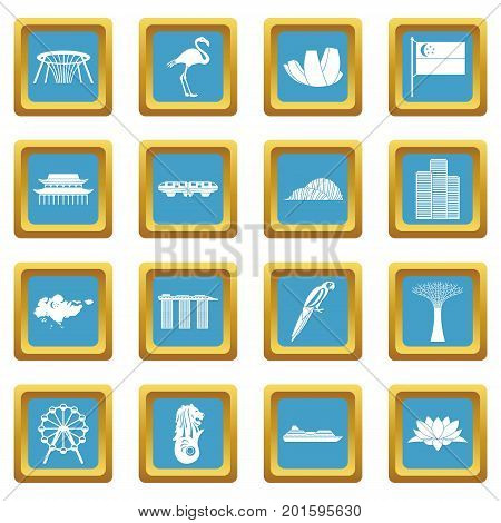 Singapore icons set in azur color isolated vector illustration for web and any design