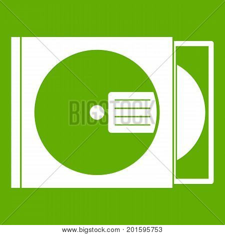 CD box with disc icon white isolated on green background. Vector illustration