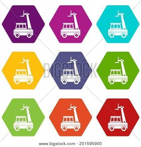 Cherry picker icon set many color hexahedron isolated on white vector illustration
