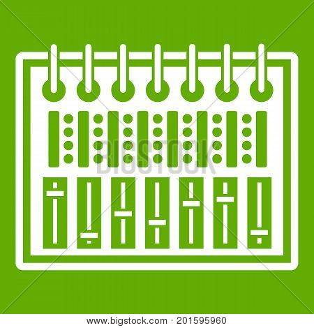 Music equalizer console icon white isolated on green background. Vector illustration