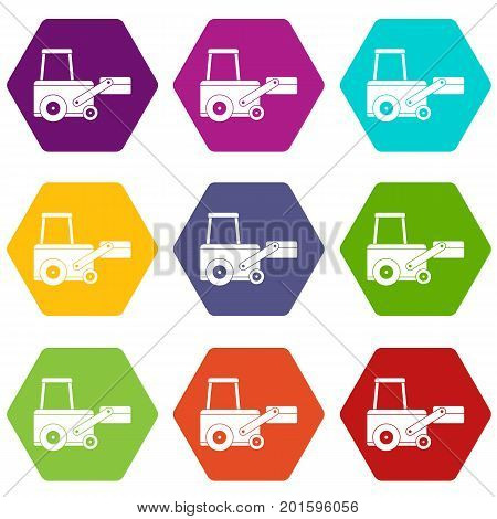 Truck to lift cargo icon set many color hexahedron isolated on white vector illustration