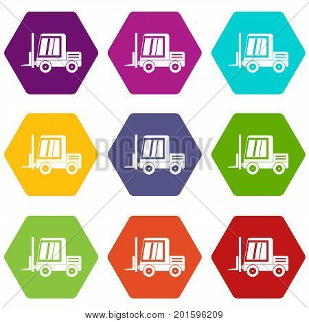Stacker loader icon set many color hexahedron isolated on white vector illustration