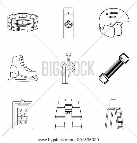Stadium icons set. Outline set of 9 stadium vector icons for web isolated on white background
