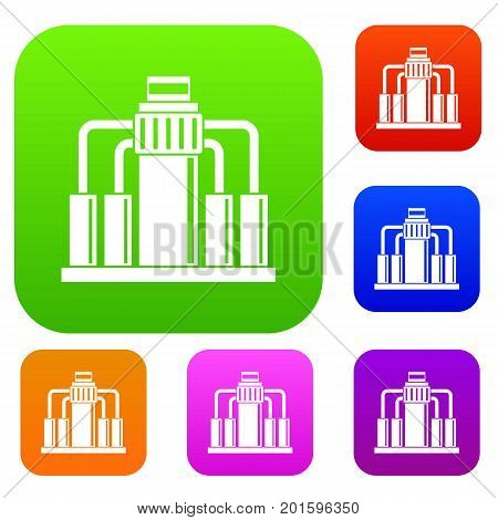Oil refining set icon in different colors isolated vector illustration. Premium collection
