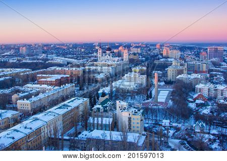 Cold winter cityscape. View to Voronezh downtown from rooftop. Revolution prospect