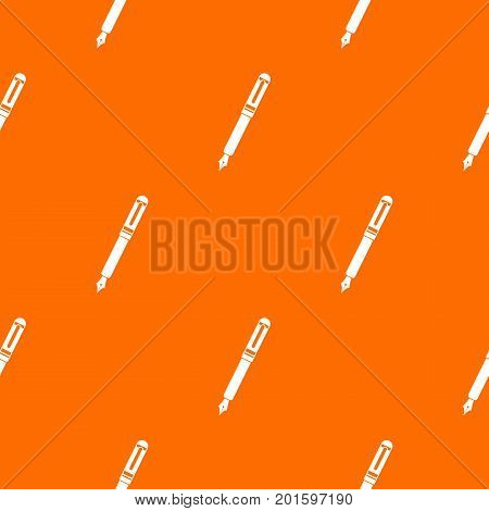 Black fountain pen pattern repeat seamless in orange color for any design. Vector geometric illustration