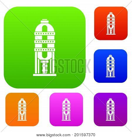 Capacity for oil storage set icon in different colors isolated vector illustration. Premium collection