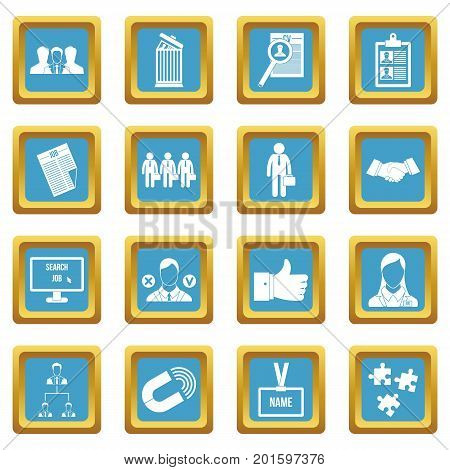 Human resource management icons set in azur color isolated vector illustration for web and any design