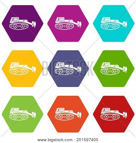 Excavator with hydraulic hammer icon set many color hexahedron isolated on white vector illustration
