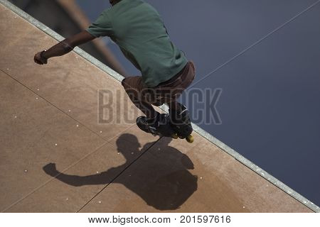 Roller skater in a skate park in town