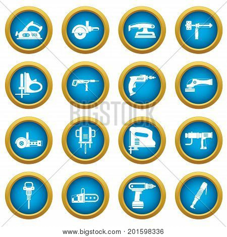Electric tools icons blue circle set isolated on white for digital marketing