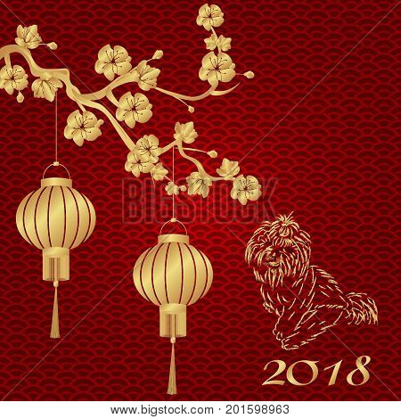 Chinese New Year. 2018 year of the dog. Stylized bronze Chinese lanterns on a cherry branch. Silhouette of a seated dog. Vector illustration