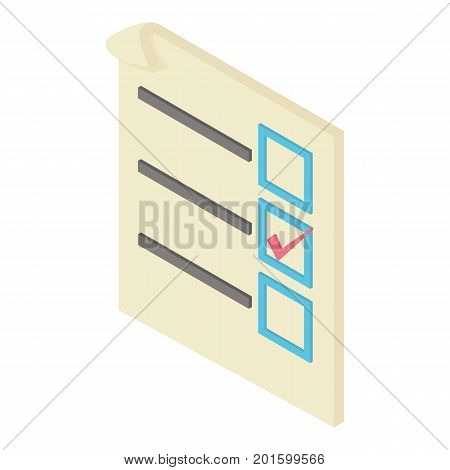 Form voting icon. Isometric illustration of form voting vector icon for web