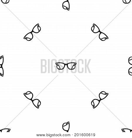 Eyeglasses pattern repeat seamless in black color for any design. Vector geometric illustration
