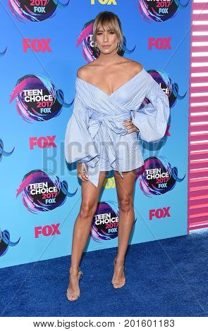 LOS ANGELES - AUG 13:  Renee Bargh arrives for the Teen Choice Awards 2017 on August 13, 2017 in Los Angeles, CA