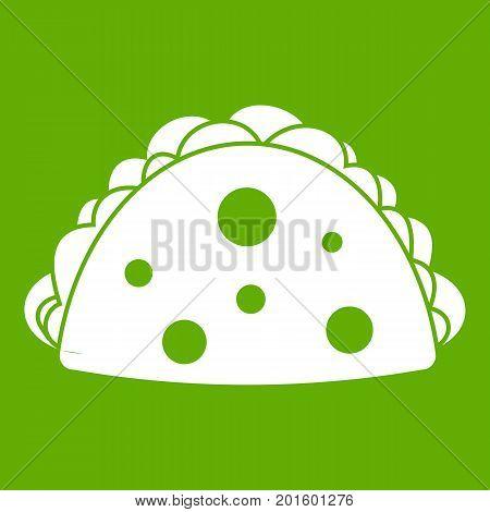 Empanada, cheburek or calzone icon white isolated on green background. Vector illustration