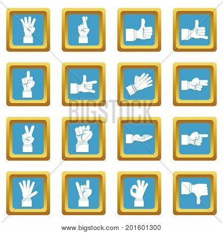 Hand gesture icons set in azur color isolated vector illustration for web and any design