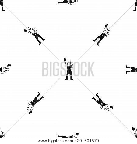 Strong man with kettlebell pattern repeat seamless in black color for any design. Vector geometric illustration