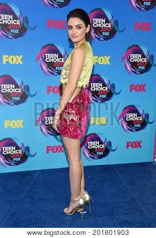 LOS ANGELES - AUG 13:  Lucy Hale arrives for the Teen Choice Awards 2017 on August 13, 2017 in Los Angeles, CA
