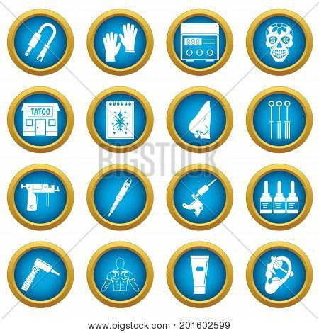 Tattoo parlor icons blue circle set isolated on white for digital marketing