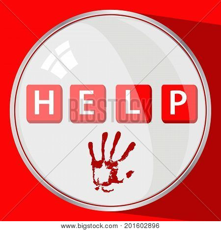 Help from violence concept. round button. red trace by hand. illustration for your design.