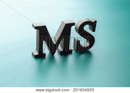 Management abbreviation MS made with letters on light color background