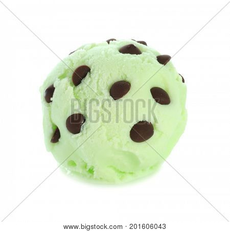 Ball of delicious mint chocolate chip ice cream on white background