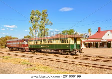 Vintage train and carriage at Quorn Railway Station, SA, Australia, 9 February 2013