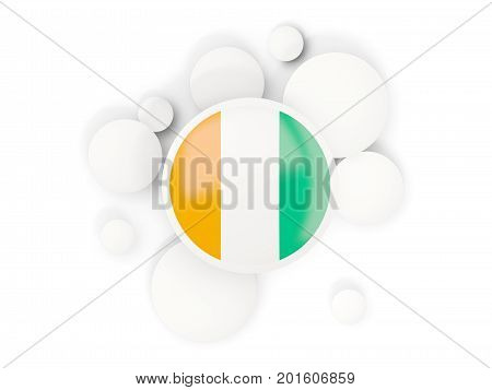 Round Flag Of Cote D Ivoire With Circles Pattern