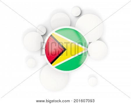 Round Flag Of Guyana With Circles Pattern