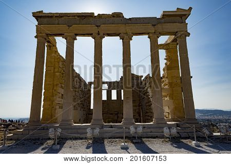 erechtheum temple in acropolis area, athens, greece