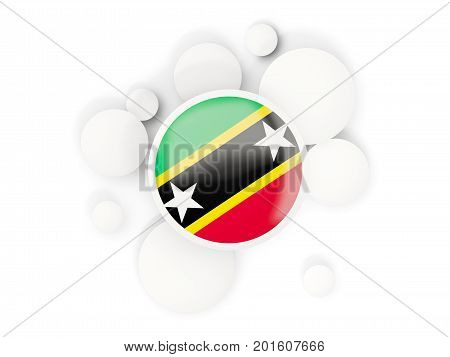 Round Flag Of Saint Kitts And Nevis With Circles Pattern