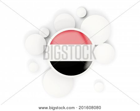Round Flag Of Yemen With Circles Pattern