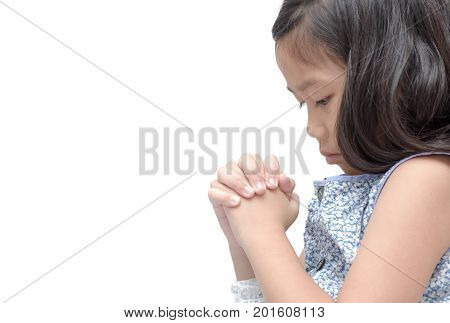 Asian Girl Hand Praying, Hands Folded In Prayer Concept For Faith