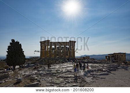 backside of parthenon in acropolis, athens, greece
