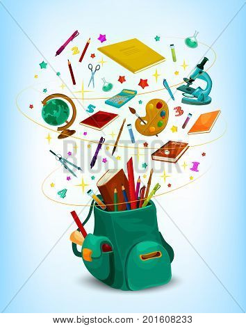 Back to School poster of rucksack or backpack full of lesson stationery and study supplies. Vector school book, pen or pencil and globe, maple or rowan leaf and ruler on in confetti
