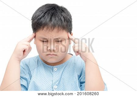 Obese Fat Boy Suffering From Headache Isolated On White Background