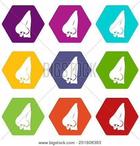 Human nose with piercing icon set many color hexahedron isolated on white vector illustration
