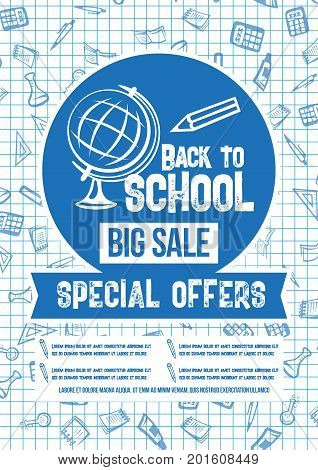 Back to School Big Sale poster on checkered copybook pattern background of stationery and school book, pencil or globe and ruler. Vector design for autumn seasonal special education store offer