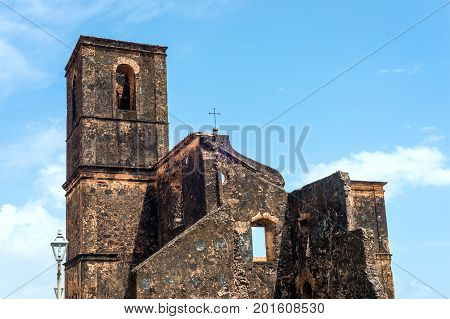 Matriz Church Ruins In The Historic City Of Alcantara Near Sao Luis, Maranhao State, Brazil