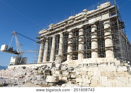 front side of parthenon in acropolis, athens, greece
