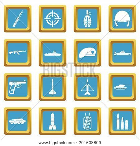 Military icons set in azur color isolated vector illustration for web and any design