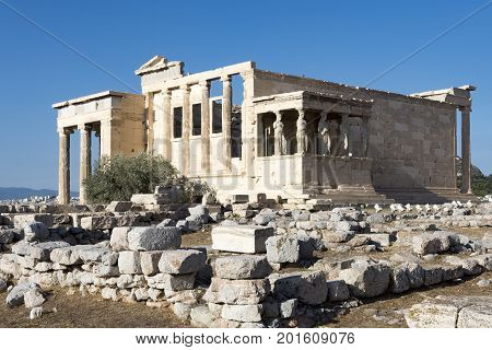 caryatides and erechtheum in acropolis, athens, greece