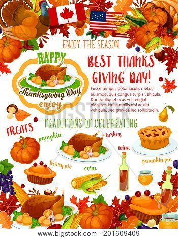 Thanksgiving Day banner of fall harvest celebration template. Autumn holiday dinner with roast turkey and pumpkin pie poster, framed by fall leaf, pilgrim hat and cornucopia with vegetable and fruit