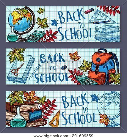 Back to School banners on checkered pattern page background. Vector ink pen design of school rucksack, geography globe map, school book and pencil or eraser stationery in autumn maple and rowan leaf