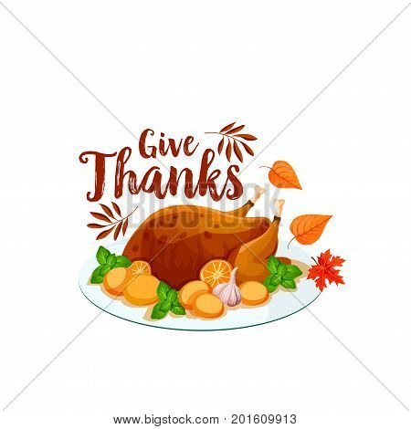 Thanksgiving turkey isolated icon. Autumn harvest holiday dinner with roasted turkey, served on plate with vegetable and herb, decorated by fall leaf for Thanksgiving Day greeting card design
