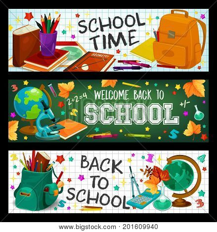 Welcome Back to School banners set of stationery and study supplies set. Vector design of school bag, geography globe, book or paint brush and calculator in maple leaf on green chalkboard background
