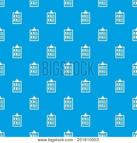 Resume of two candidates pattern repeat seamless in blue color for any design. Vector geometric illustration