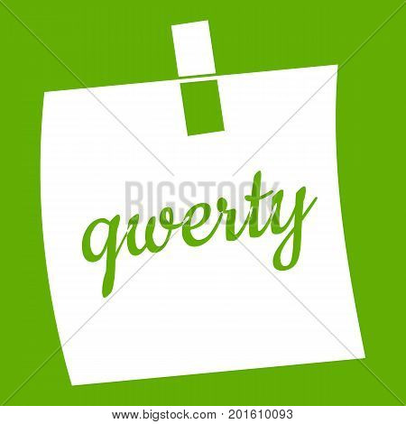 Paper sheet with text qwerty icon white isolated on green background. Vector illustration
